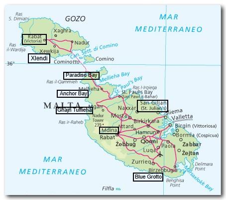 Malta Cartina Turistica.Le Migliori Spiagge E Le Localita Di Interesse Di Malta