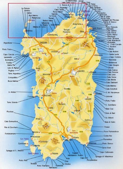 Mappa Km Sardegna.La Costa Nord Della Sardegna Da Stintino A Caprera