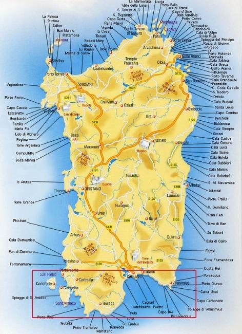 Villasimius Cartina Sardegna Sud.La Costa Sud Della Sardegna